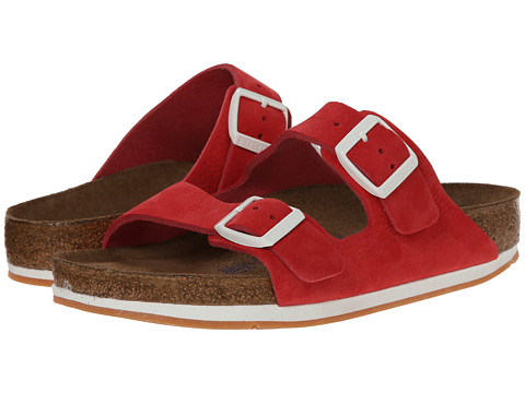 Birkenstock - Arizona Soft Footbed - Leather (Unisex) (Red Nubuck) Sandals