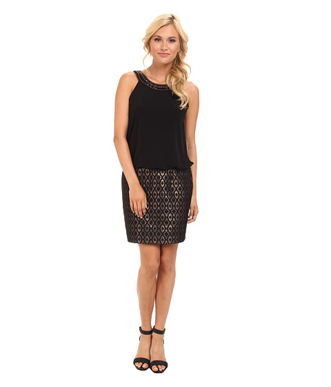 Laundry by Shelli Segal - Jersey Jacquard Blouson Dress (Black Multi) Women