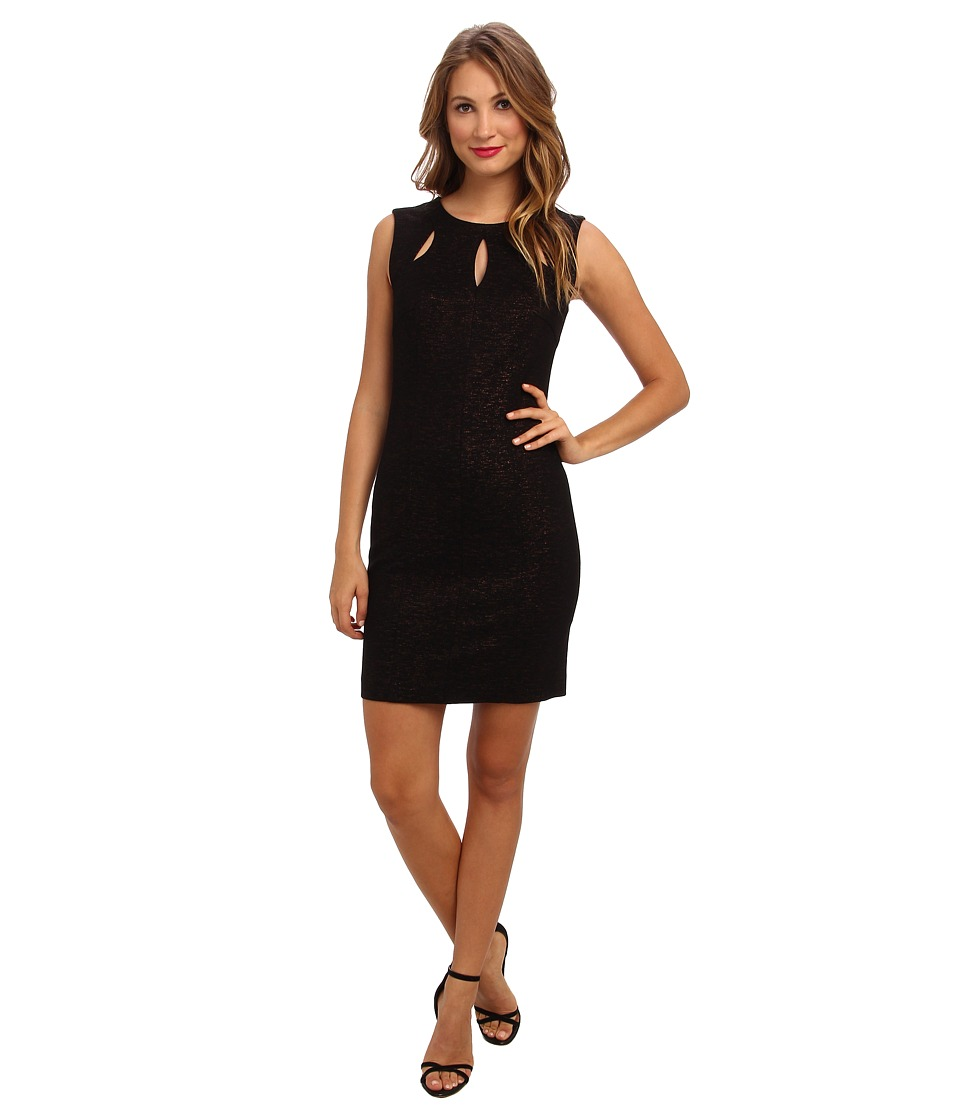 Laundry by Shelli Segal - Foiled Ponte w/ Cutout Dress (Black) Women's Dress