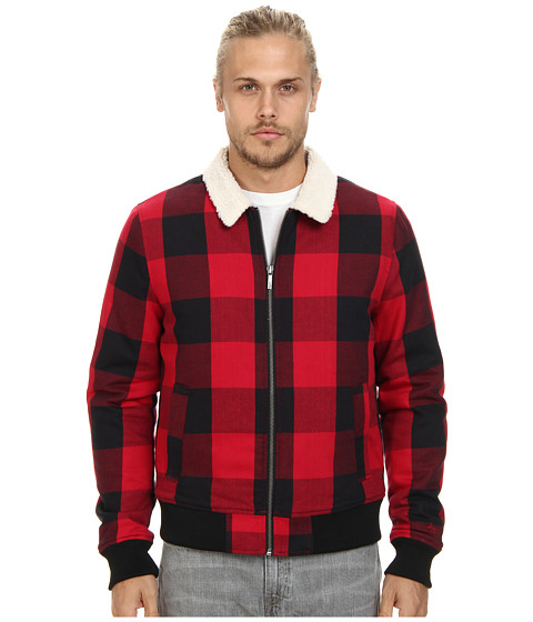 Original Penguin - Buffalo Check Bomber Jacket (Jester Red) Men's Coat