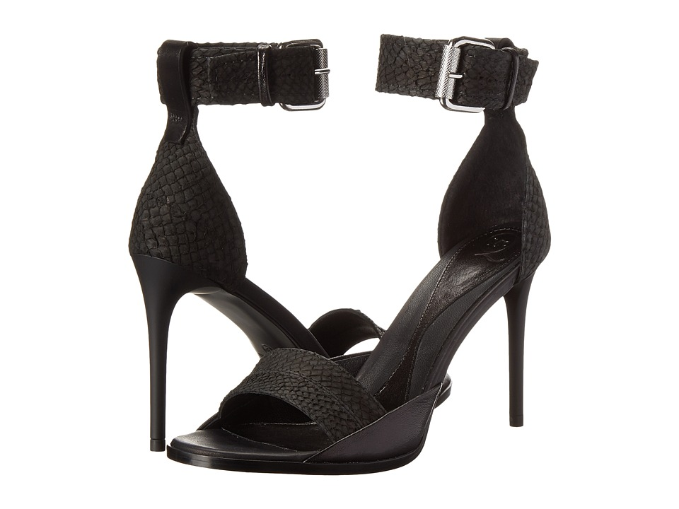 McQ Lara Biker Buckle (Darkest Black Salmon/Nappa Leather Mix) High Heels