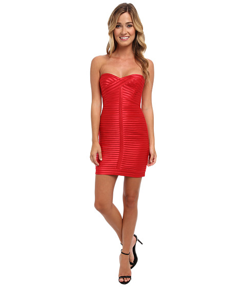 BCBGMAXAZRIA - Lillie Woven Evening Dress (Lipstick Red) Women