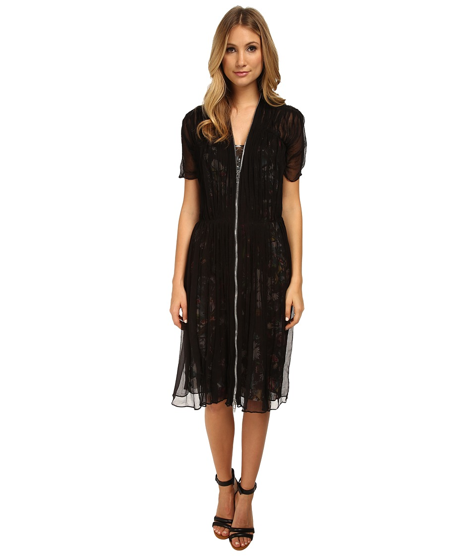 McQ - Shirred Zip Dress (Black) Women's Dress
