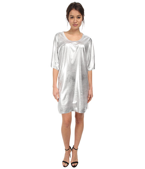 McQ - T Sleeve T-Shirt Dress (Optic White w/ Silver Foil Print) Women's Dress