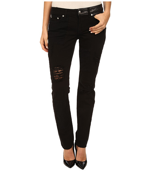 McQ - Patched Low Waist Skinny Jeans (Darkest Black) Women's Jeans