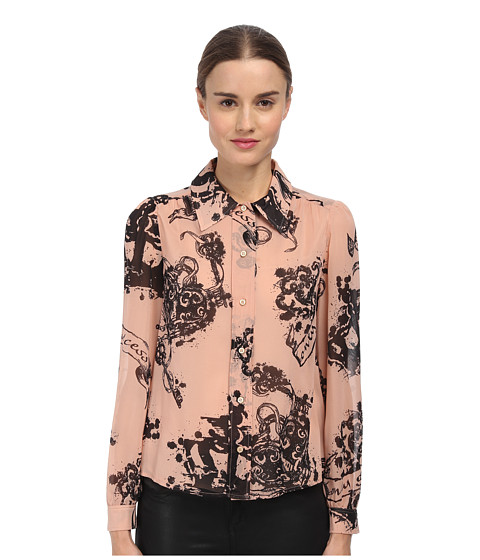 RED VALENTINO - Tattoo Print Silk Muslin Top (Nude) Women's Blouse