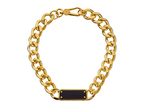 Marc by Marc Jacobs - Link To Katie ID Plaque Statement Necklace (Black/Oro) Necklace