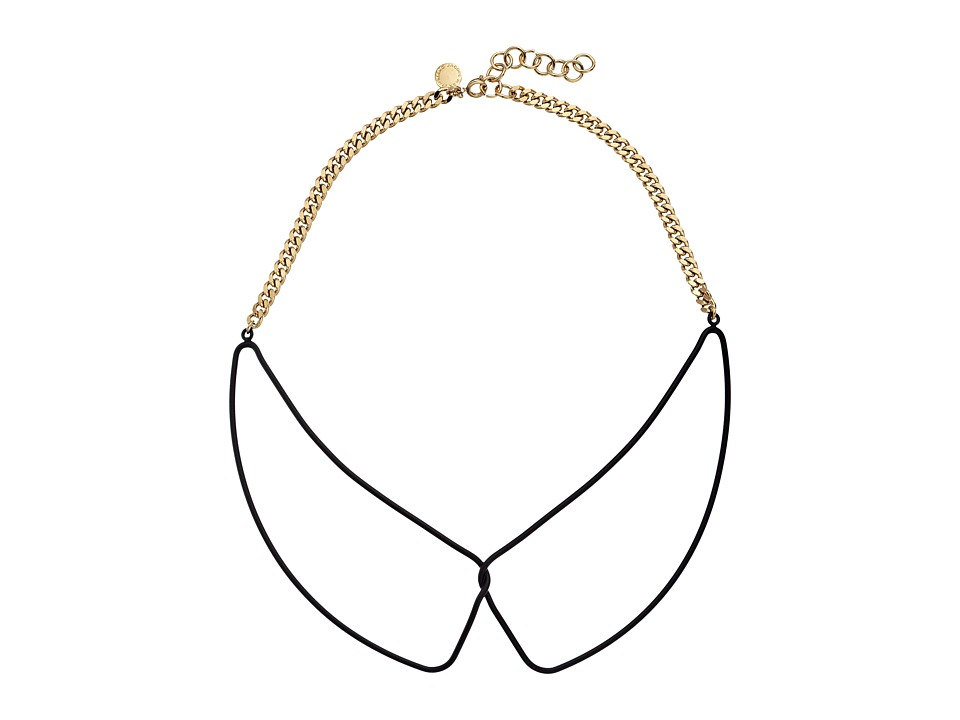 Marc by Marc Jacobs - Key Items Rubberized Wireframe Collar Necklace (Black/Oro) Necklace
