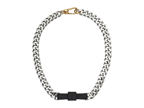 Marc by Marc Jacobs - All Tied Up Rubberized Large Bow Tie Necklace (Black/Argento) Necklace