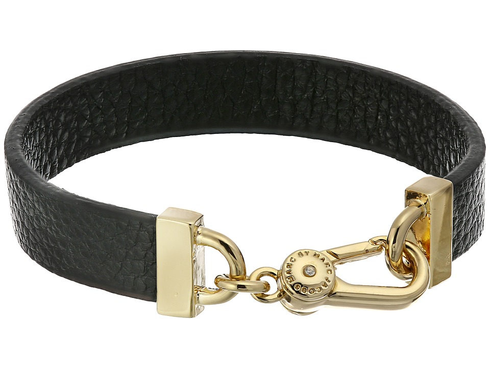 Marc by Marc Jacobs - Key Items Simple Leather Bracelet (Black/Oro) Bracelet