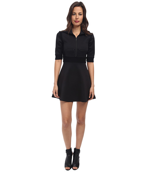 RED VALENTINO - Jersey and Knit Inserts Dress (Black) Women's Dress
