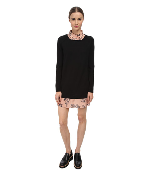 RED VALENTINO - Cotton Yarn and Tattoo Print Dress (Black) Women