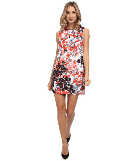 RED VALENTINO - Abstract Flower Print Dress (Orange) Women's Dress