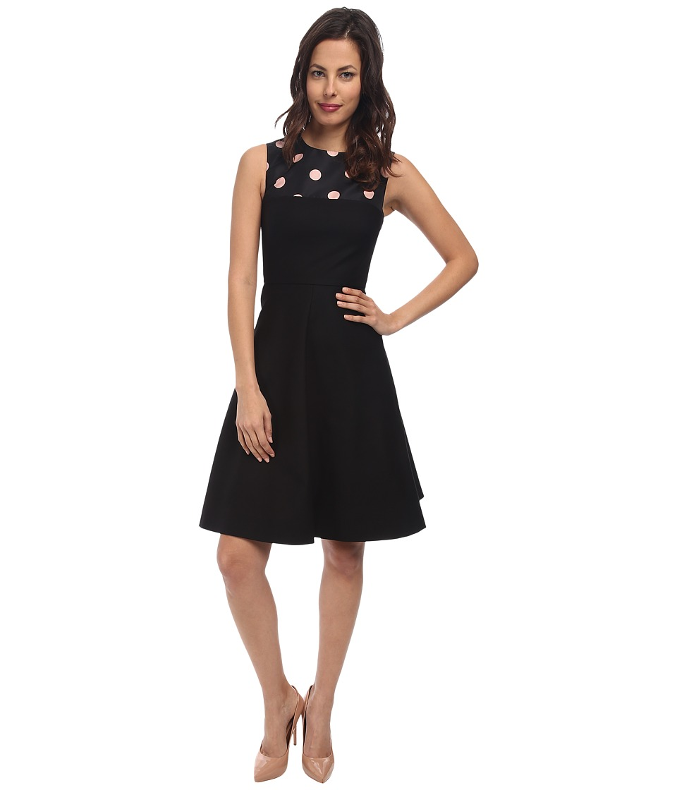 RED VALENTINO - Stetch Cotton and Macro Polka Dots Dress (Black) Women's Dress