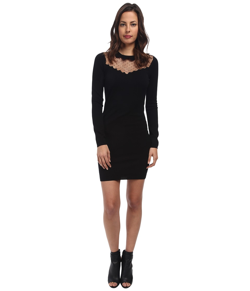 RED VALENTINO - Stretch Viscose and Point D'Esprit Dress (Black) Women's Dress