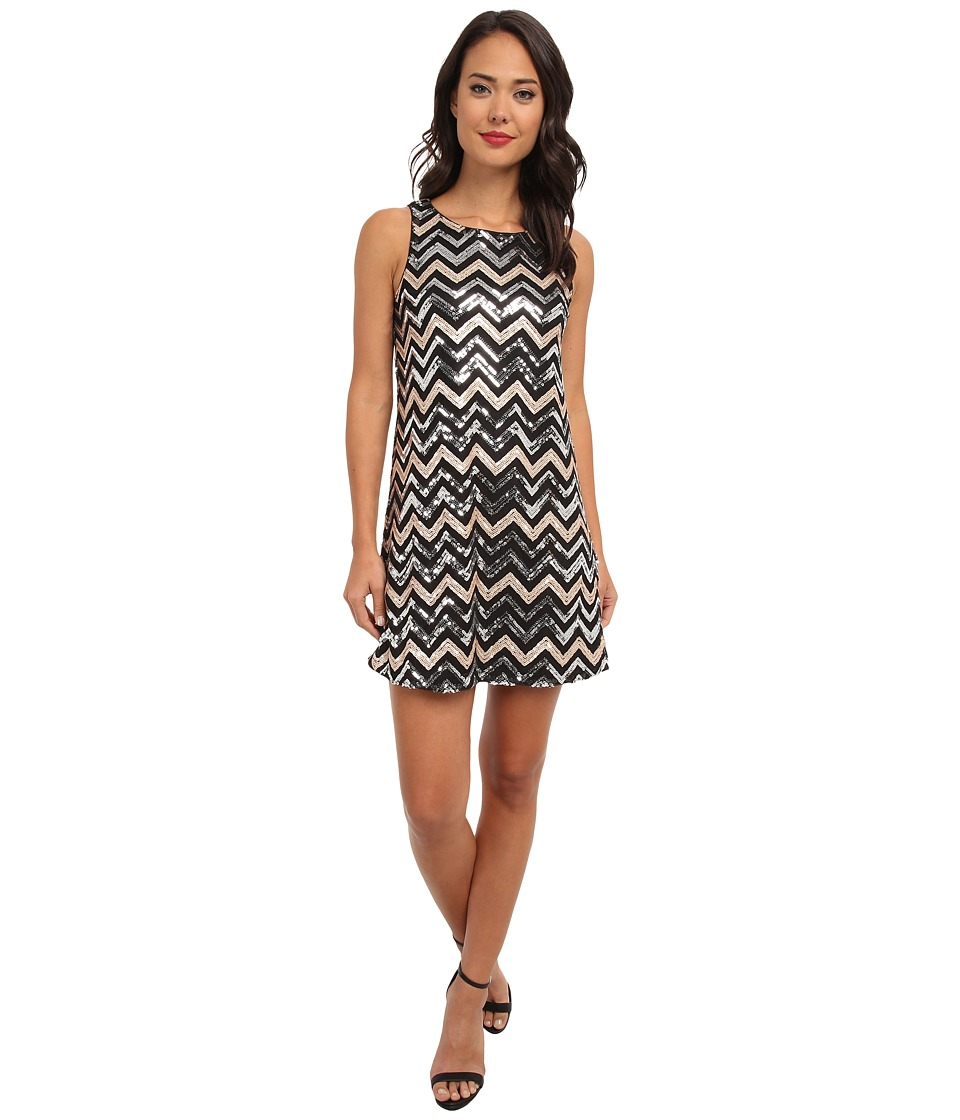 rsvp - Iris Chevron Dress (Gold/Silver Chevron) Women's Dress