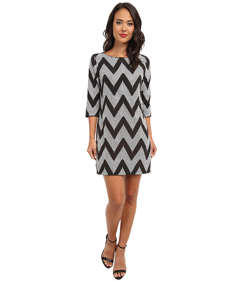 rsvp - Sequin Chevron Shift Dress (Silver/Black) Women