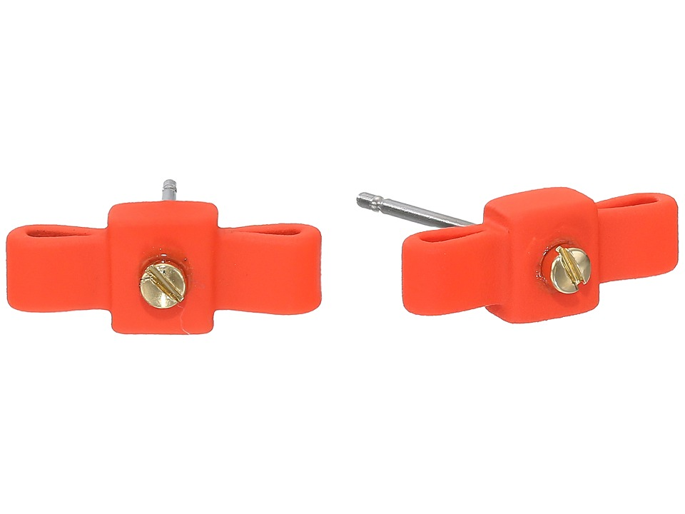 Marc by Marc Jacobs - All Tied Up Rubberized Bow Tie Stud Earrings (Orange Glow) Earring