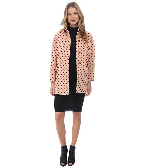 RED VALENTINO - Micro Polka Dots Print Coat (Nude) Women's Coat