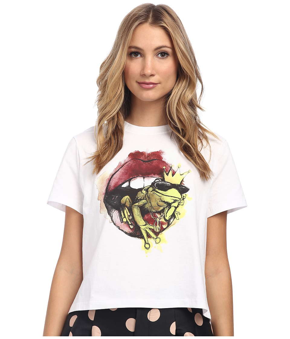 RED VALENTINO - Lip and Frog Tee (White) Women's T Shirt