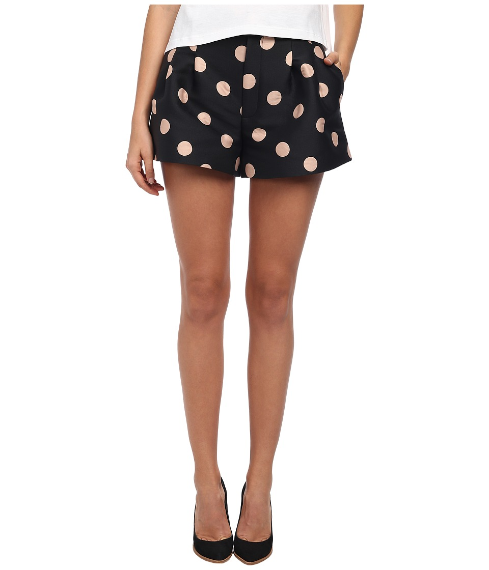 RED VALENTINO - Macro Polka Dots Brocade Shorts (Black) Women's Shorts