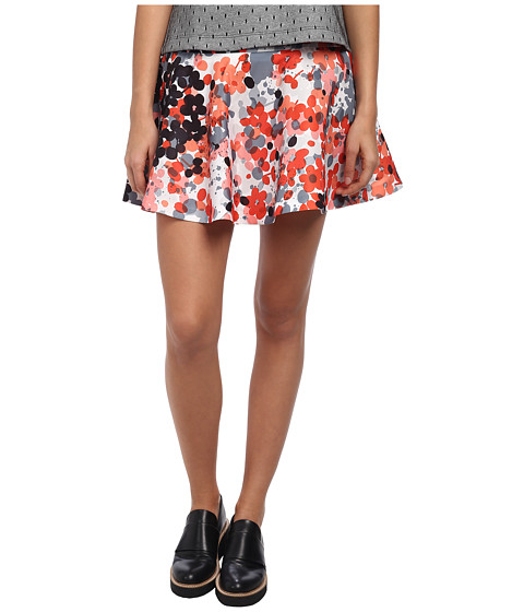 RED VALENTINO - Abstract Flower Print Skirt (Orange) Women's Skirt
