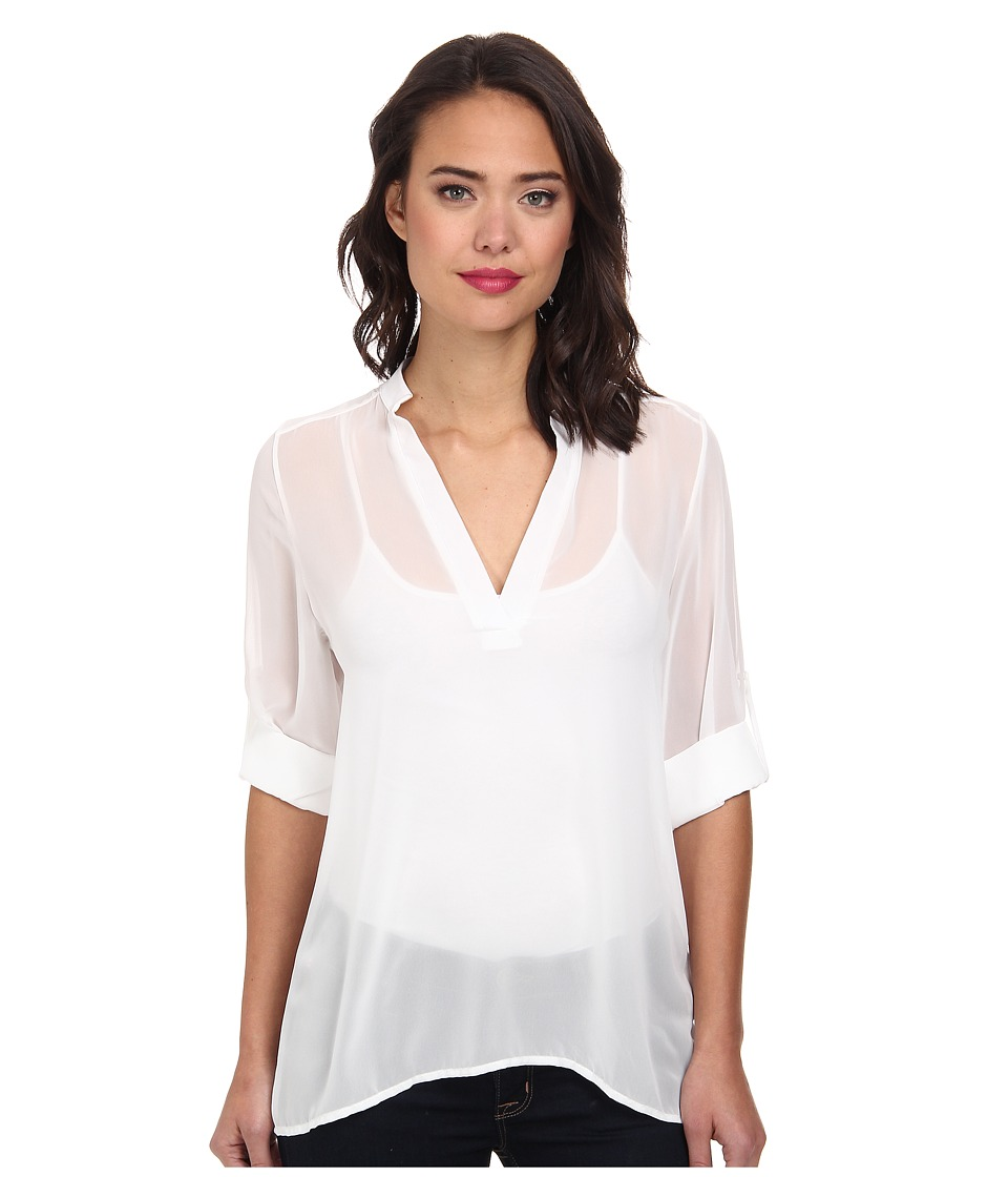 Christin Michaels - Sophie Blouse with Roll Sleeves (White) Women's Blouse