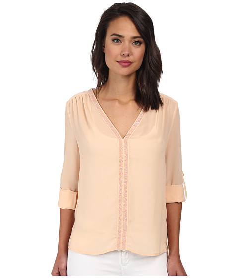 Christin Michaels - Sheer Dahlia Blouse Sequin with Roll Up Sleeve and Tab (Blush) Women's Blouse