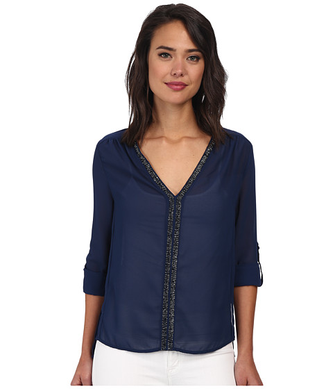 Christin Michaels - Sheer Dahlia Blouse Sequin with Roll Up Sleeve and Tab (Navy) Women's Blouse