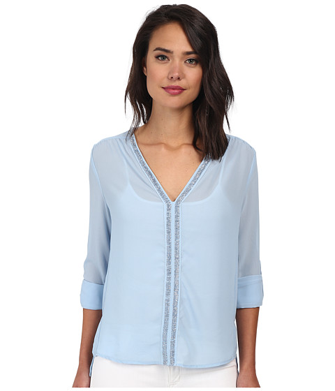 Christin Michaels - Sheer Dahlia Blouse Sequin with Roll Up Sleeve and Tab (Light Blue) Women