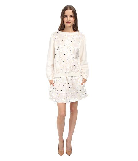 See by Chloe - L/S Elastic Waist Dress (Cream/Black) Women's Dress