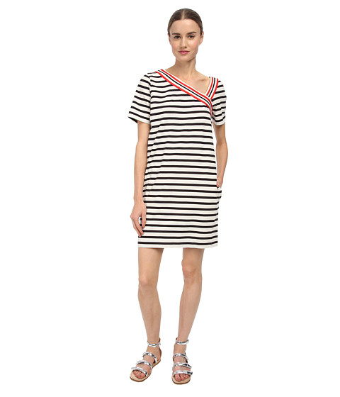 See by Chloe - Stripe T-Shirt Dress (Dark Night/White) Women
