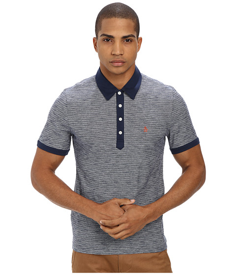 Original Penguin - Slub Feeder Polo (Dress Blues) Men's Short Sleeve Pullover