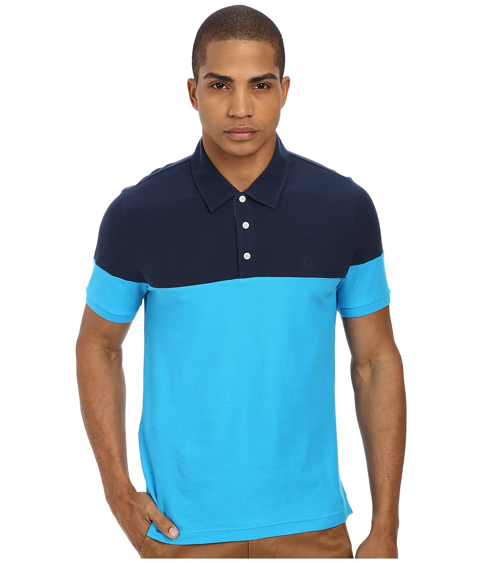 Original Penguin - Color Block Polo (Vivid Blue) Men's Short Sleeve Pullover