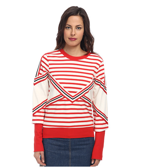 See by Chloe - Stripe L/S T-Shirt (Blazing Red/White) Women