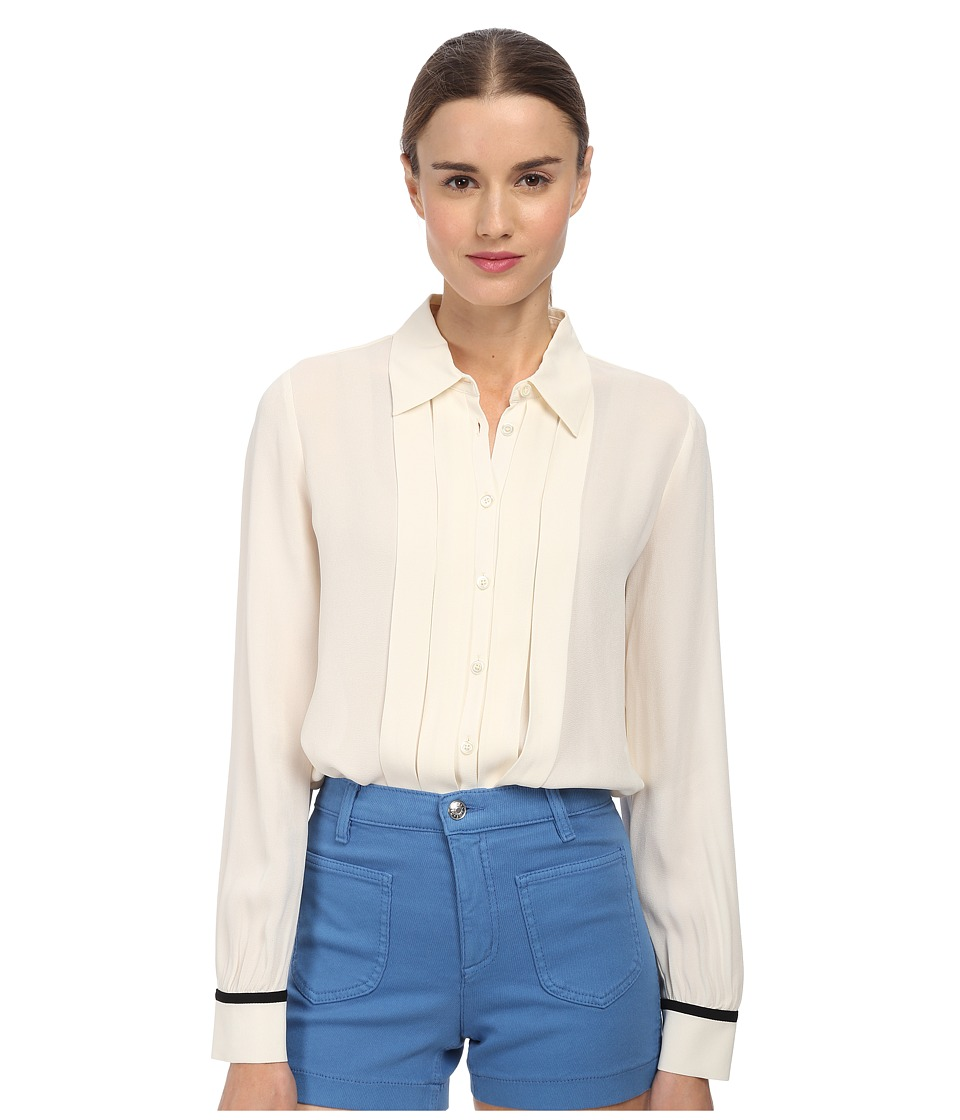 See by Chloe - Button-Down L/S Blouse (Cream/Black) Women's Blouse