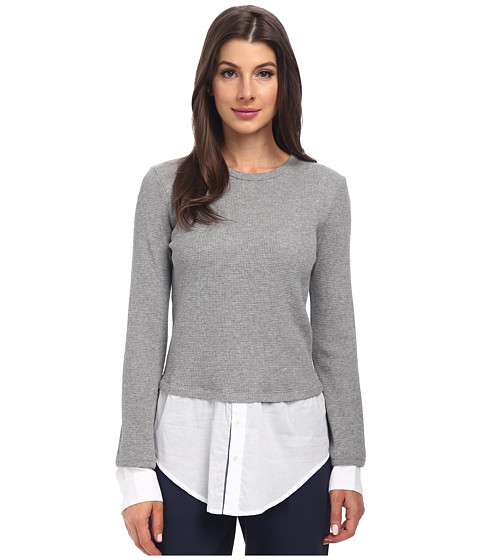 Theory - Mikaela Long Sleeve Tee (Heather Grey) Women's T Shirt
