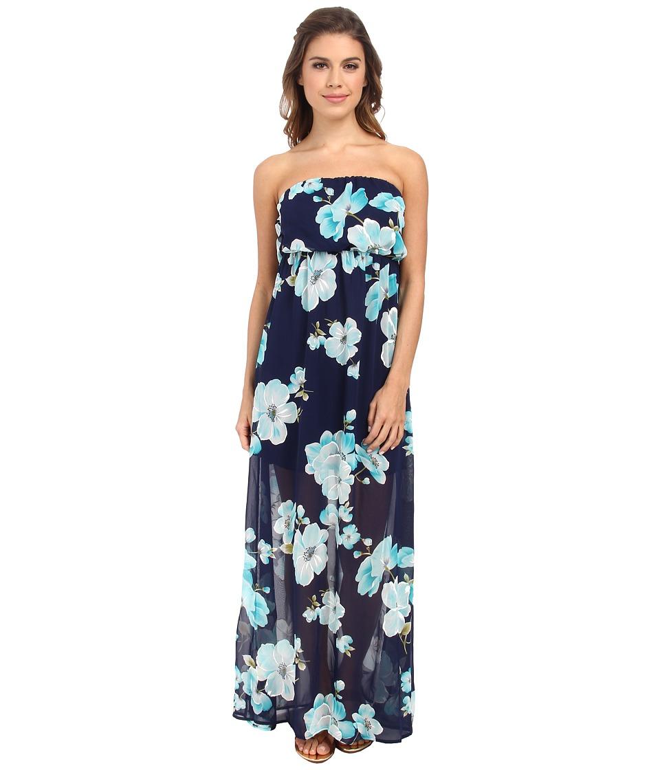 Culture Phit Holly Strapless Dress (Navy/White Chevron) Women