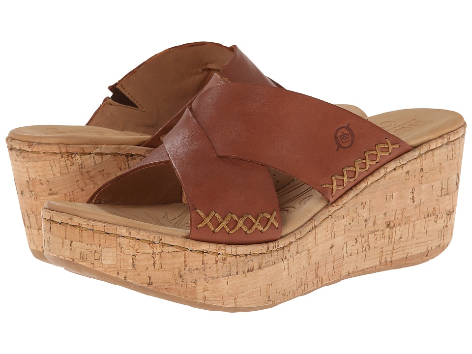 Born - Larina (Mosto (Red Brown) Full-Grain Leather) Women's Wedge Shoes