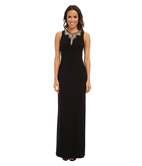 Vince Camuto - Chiffon Beaded Neck Gown with Shirred Bodice Skirt (Black) Women