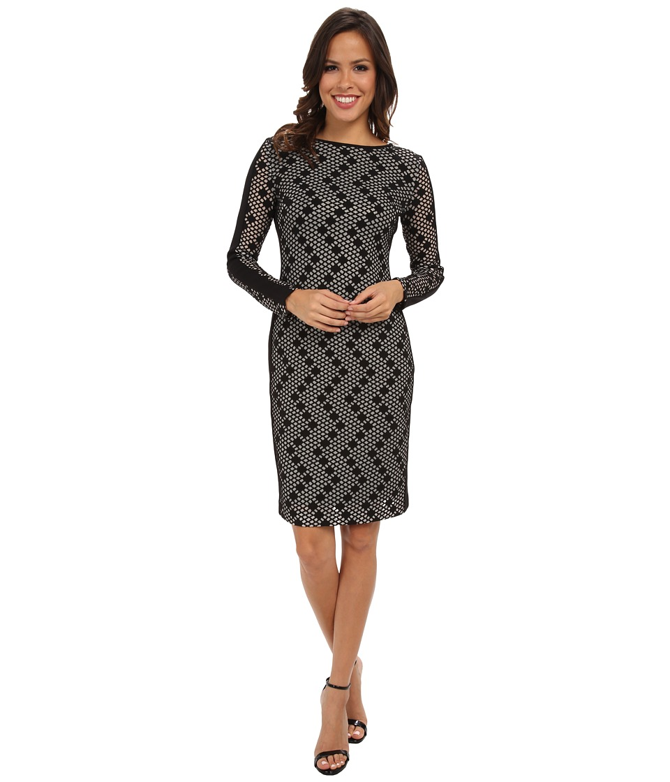 Vince Camuto - Body Con Ponte Dress w/ Long Sleeves (Black/Graphite) Women's Dress
