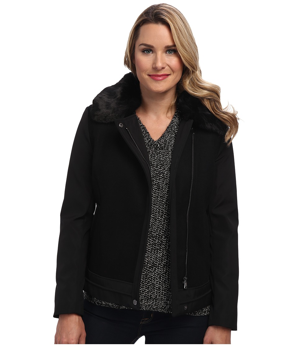 Calvin Klein - Short Fur Collar Jacket (Black) Women's Jacket