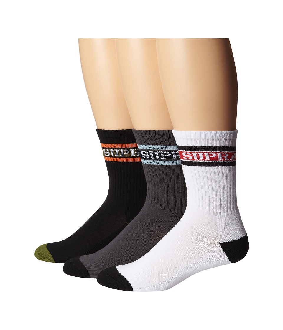 Supra - Mark Sock 3-Pack (Assorted 2) Crew Cut Socks Shoes