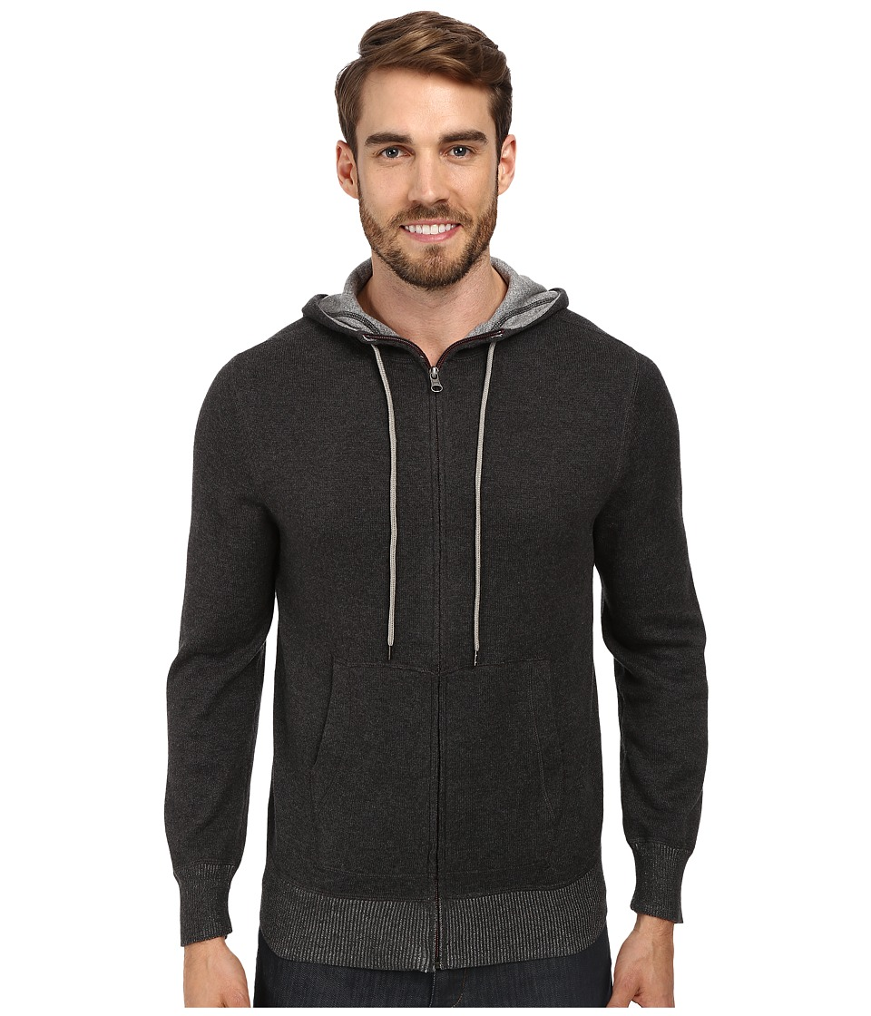 Agave Denim - Seattle L/S Zip Hoodie (Black/Charcoal) Men
