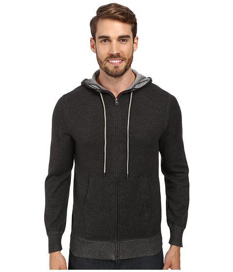 Agave Denim - Seattle L/S Zip Hoodie (Black/Charcoal) Men