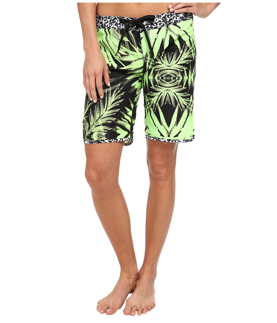 Hurley - Supersuede Printed 9 Beachrider (Flash Lime Palm) Women's Swimwear