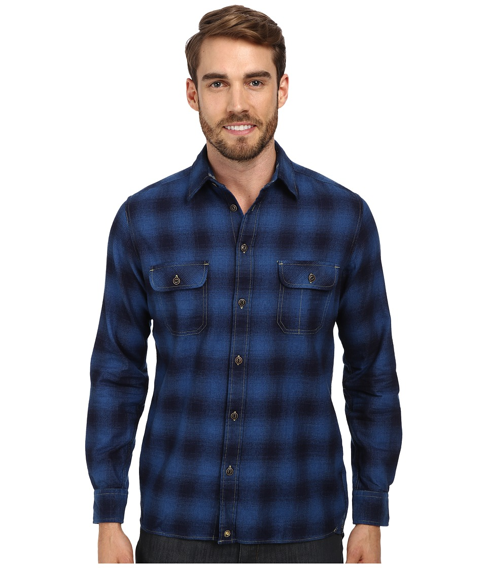 Agave Denim - Indigo Plaid L/S Button Up Shirt (Mill Valley) Men's Long Sleeve Button Up