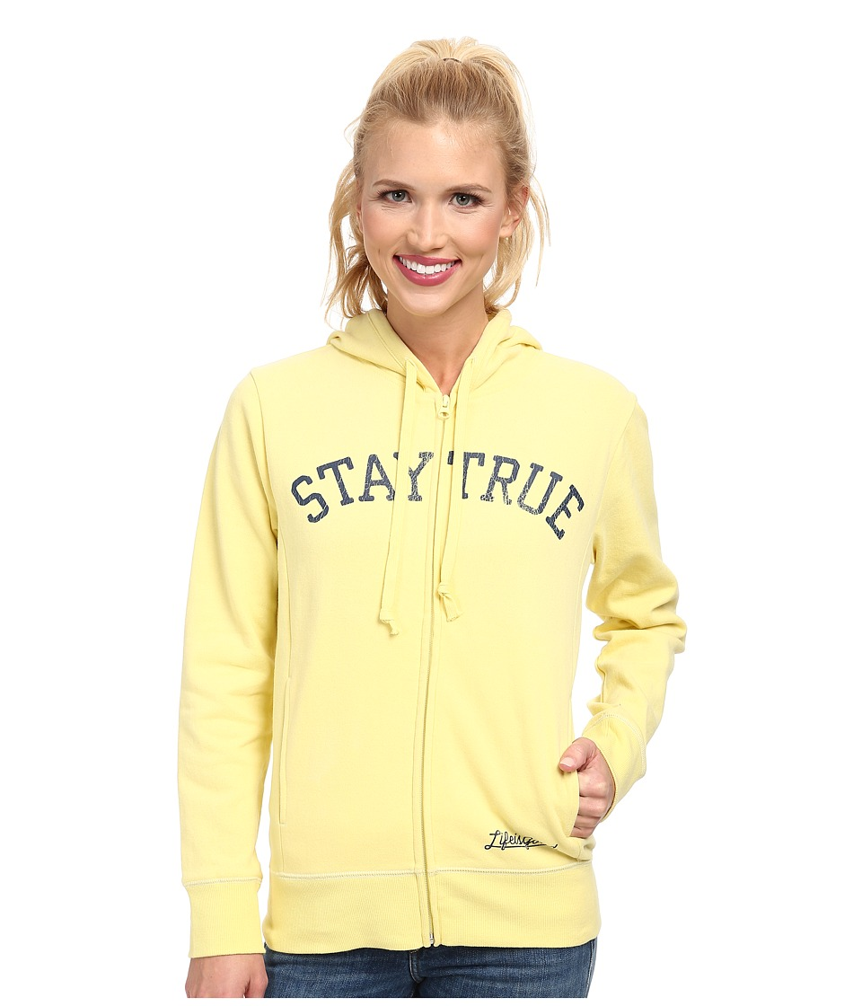 Life is good - Go-To Zip Hoodie (Lemony Yellow) Women's Sweatshirt