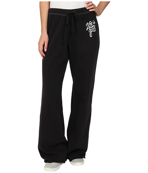 Life is good - Raw Edge Varsity Sweatpants (Night Black) Women
