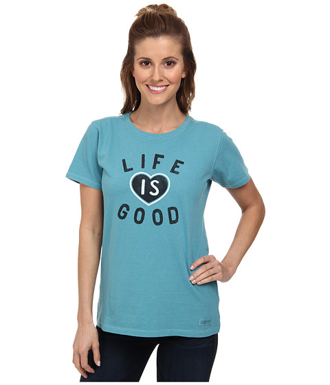 Life is good - Crusher Tee (Branded LIG Heart/Dusty Blue) Women's T Shirt